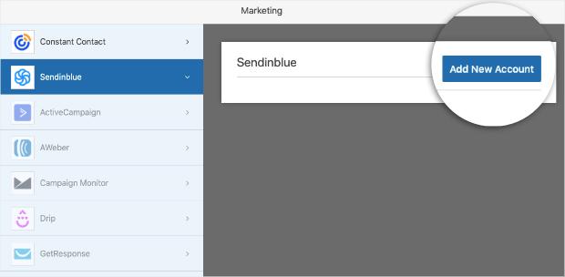 sendinblue add new account