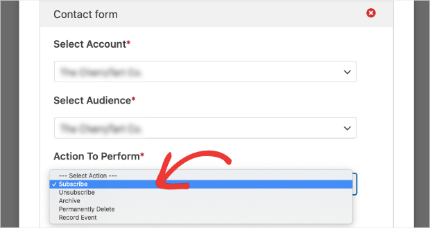 subscribe action to perform