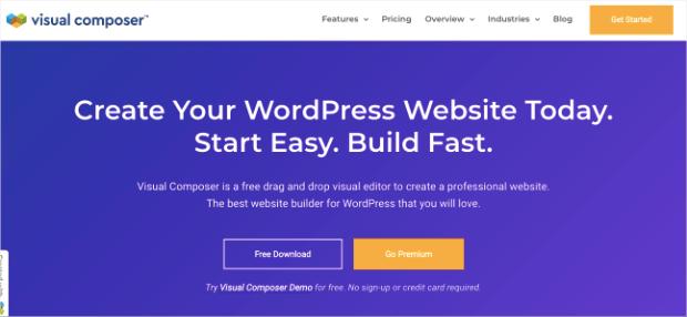 visual composer homepage