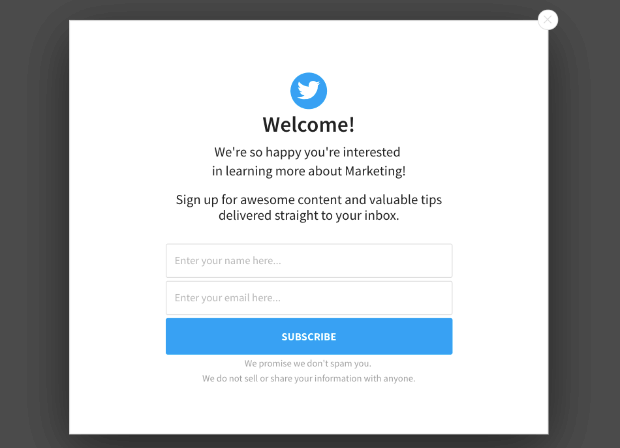welcome twitter users popup