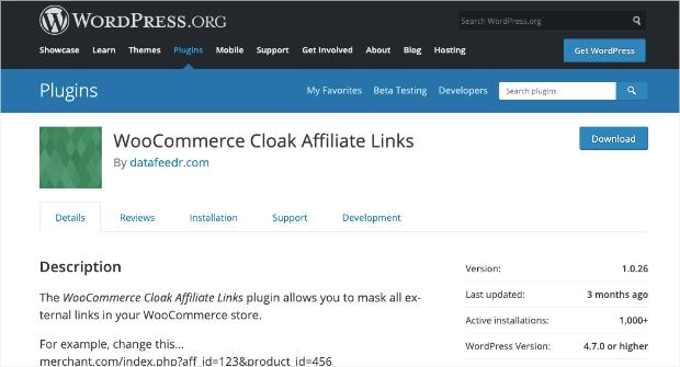woocommerce cloak affiliate links homepage