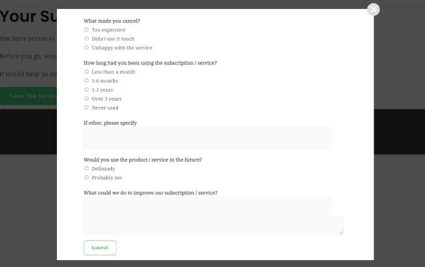 wpforms cancellation survey example in popup