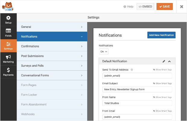 wpforms-customize-notification options