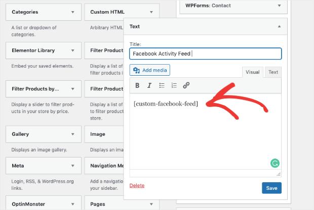 add shortcode to sidebar widget