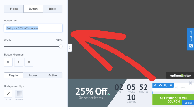 change button in flash floating bar