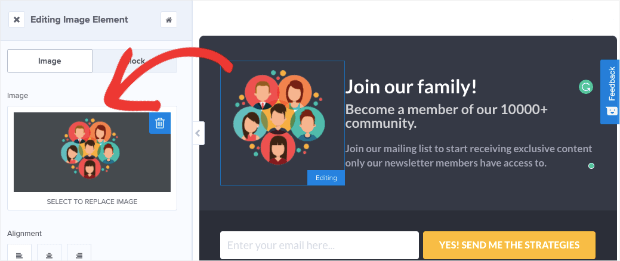 change image in inline campaign