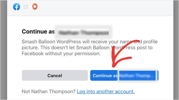 continue to facebook login for smash balloon