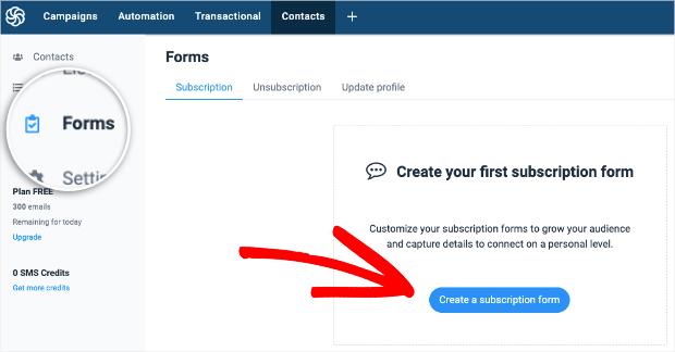 create subscription form in sendinblue