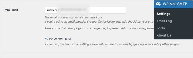 edit from email with wp mail smtp