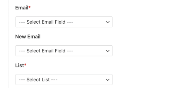 email fields in wpforms email integration