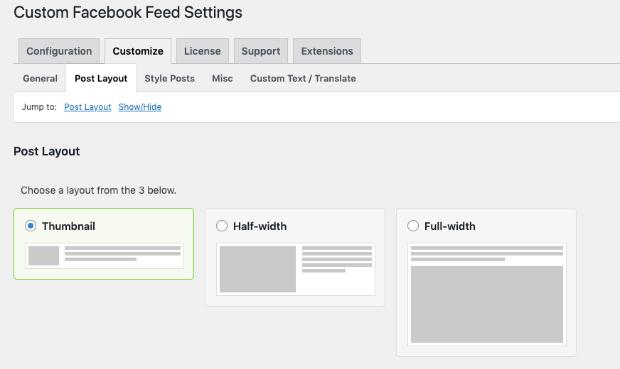 facebook feed settings in smash balloon