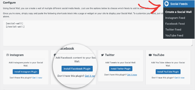 find the facebook plugin from social feeds