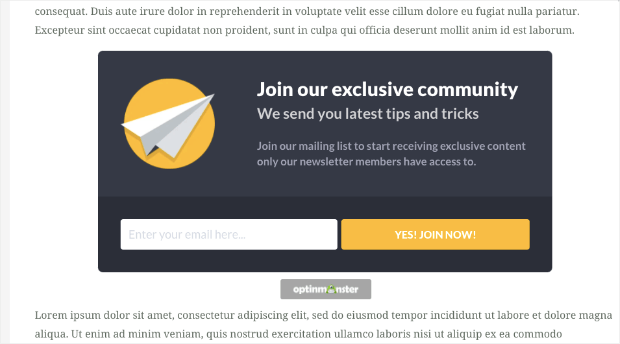 inline form example inside content