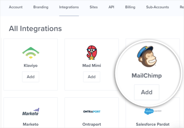 mailchimp add integration