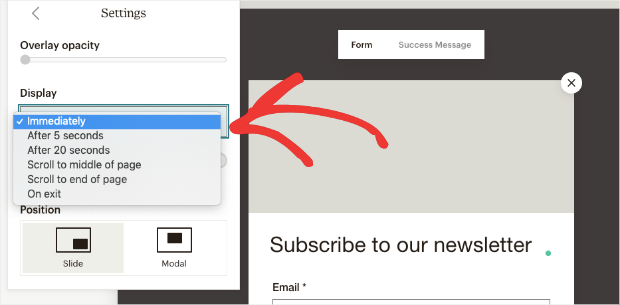 mailchimp trigger options