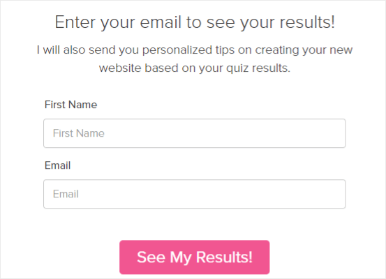 quiz enter email for results
