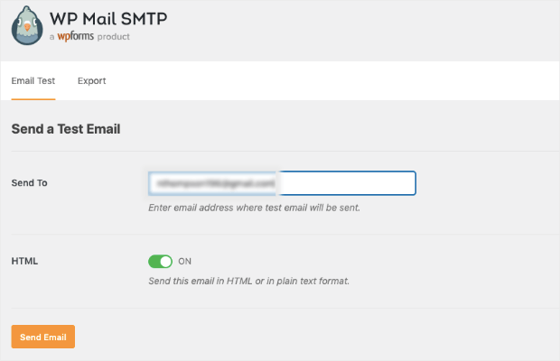 send test email with wp mail smtp