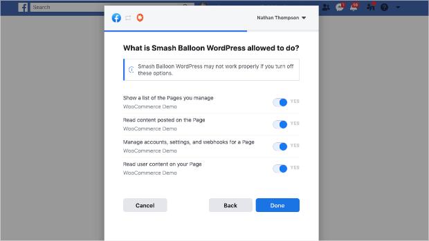 smash ballon configuration options for facebook