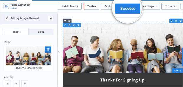 success page for transparent inline campaign