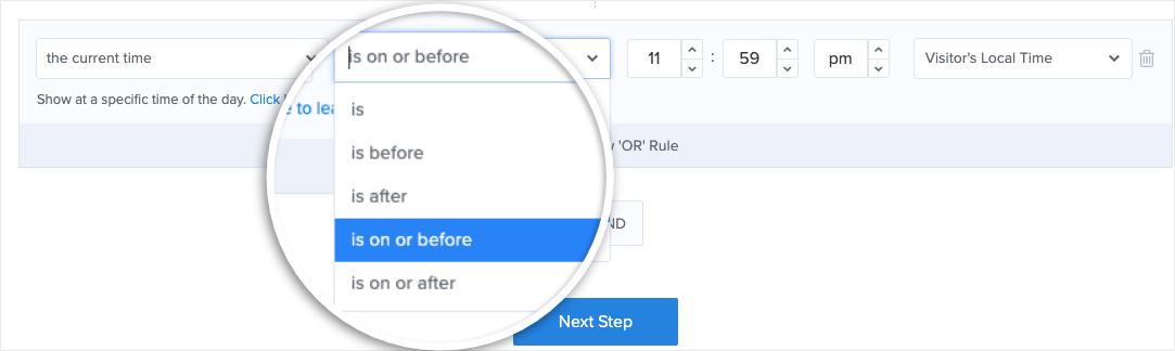 time rule in optinmonster