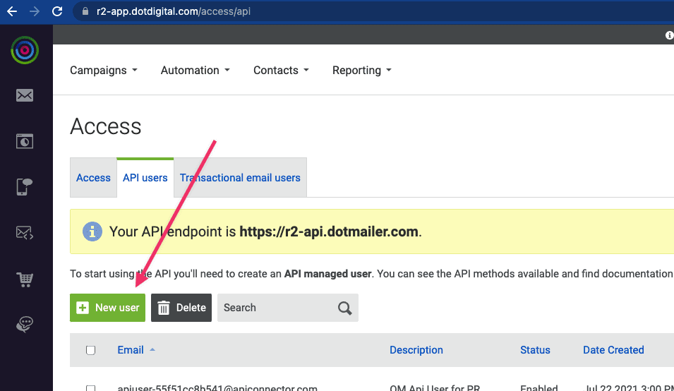 DotDigital Add API User