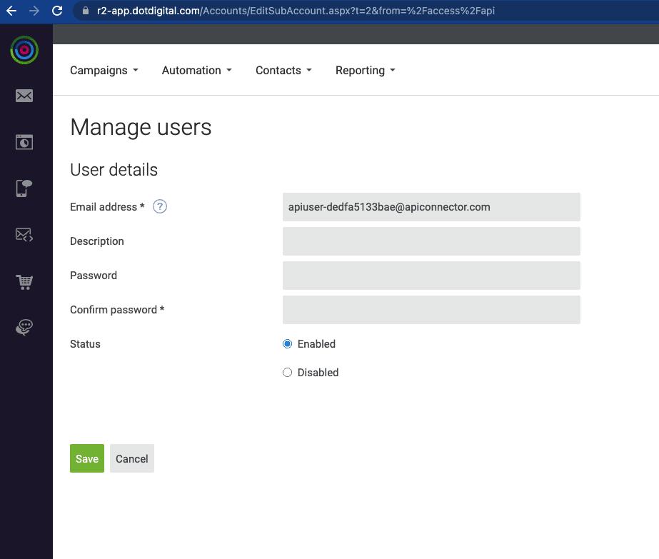 DotDigital new API user creation screen