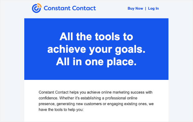 constant contact promotional email