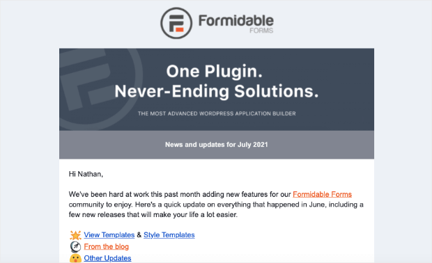 formidable forms promo email example