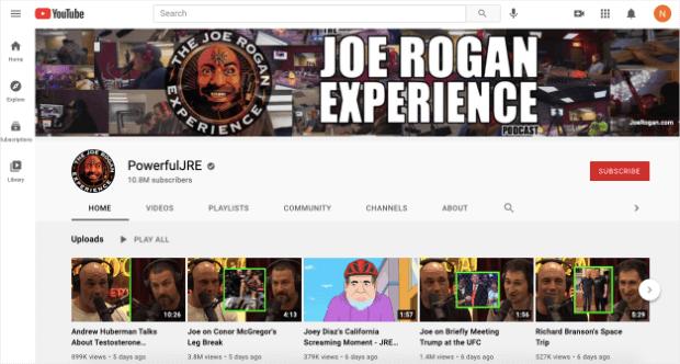 joe rogan experience content marketing example