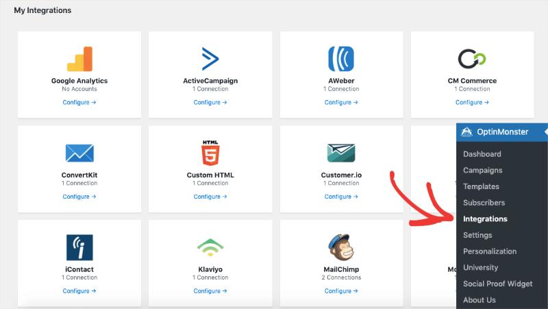optinmonster wordpress plugin integration page update