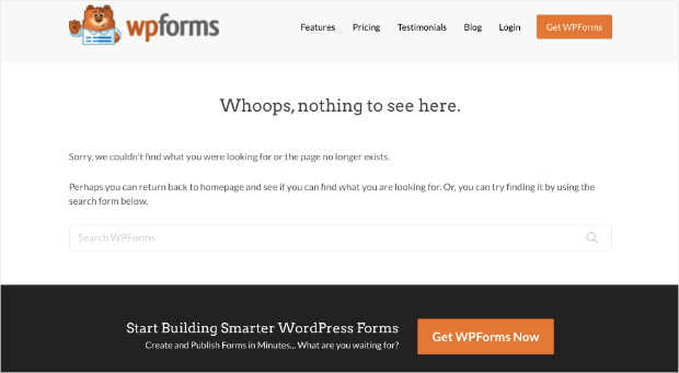 wpforms 404 page example