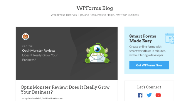 wpforms optinmonster review example
