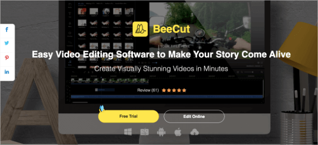 beecut video editing software for instagram