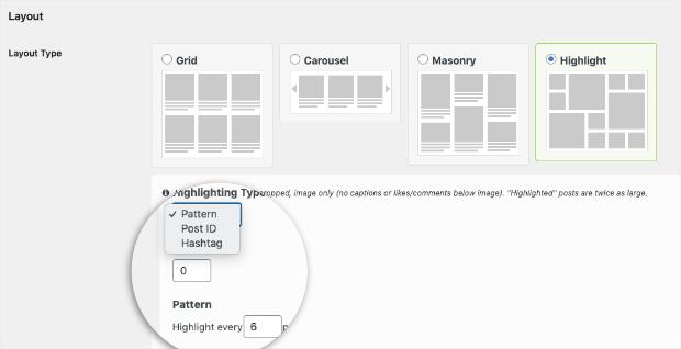 configure pattern settings instagram feed pro