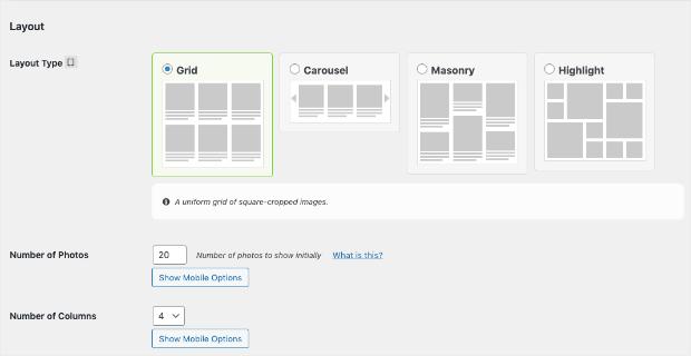 layout type for instagram feed wordpress