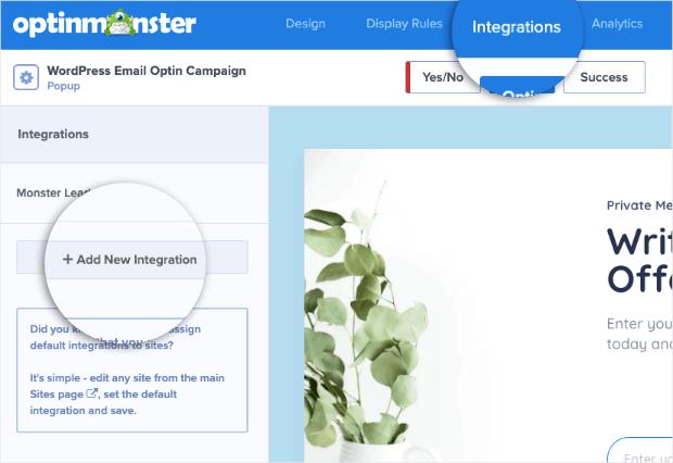 add new integration for wordpress email optin
