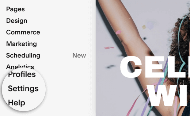 choose settings from squarespace