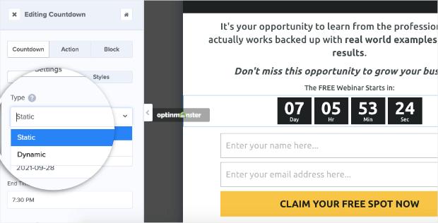 choose static or dynamic countdown timer