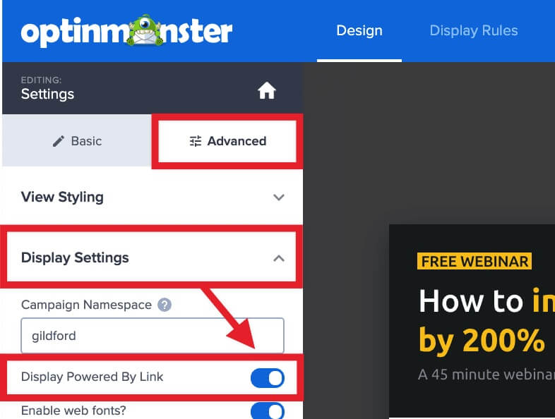 Enable or disable the OptinMonster branding.