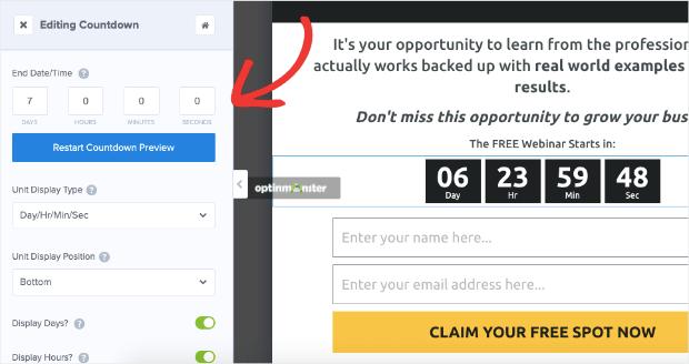dynamic countdown timer settings