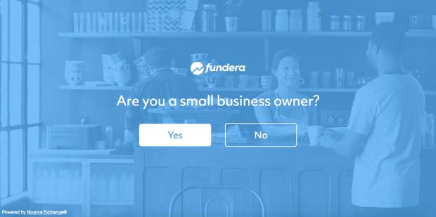 fundera survey popup example