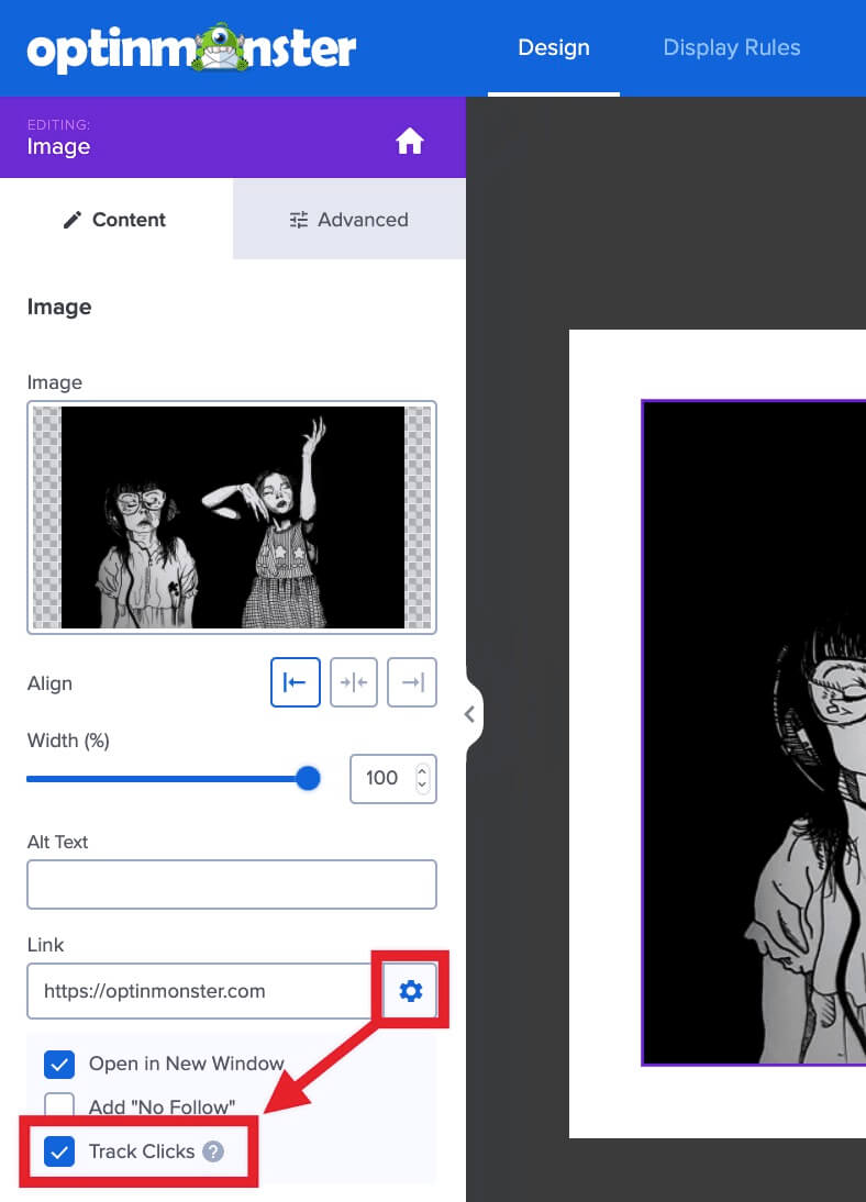 Track clicks on your campaign image.