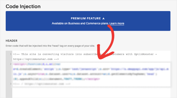 inject code into your squarespace site header