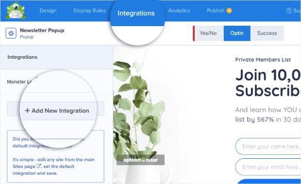 newsletter popup add new integration