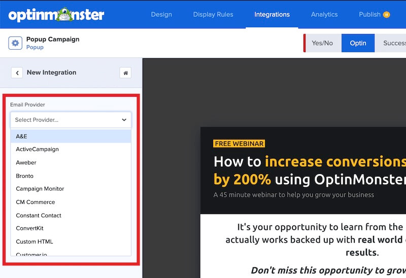 Select your Email Service Provider from the dropdown field in the OptinMonster campaign builder.