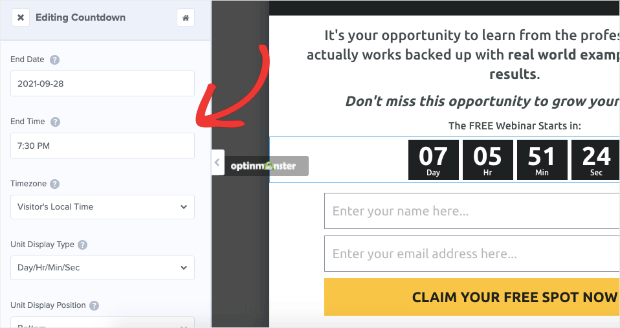 static countdown timer settings
