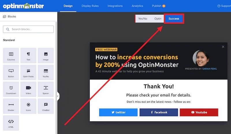 Success View link in the OptinMonster camapign builder