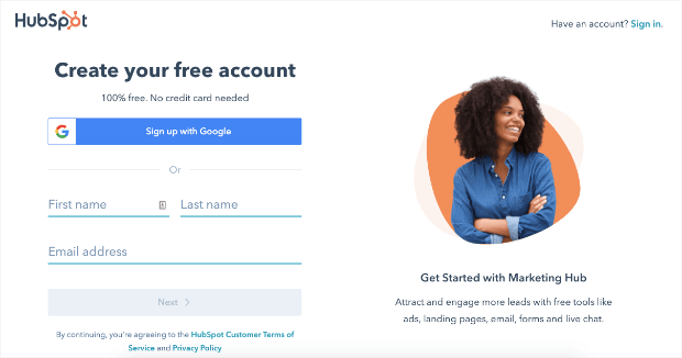 hubspot create your free account
