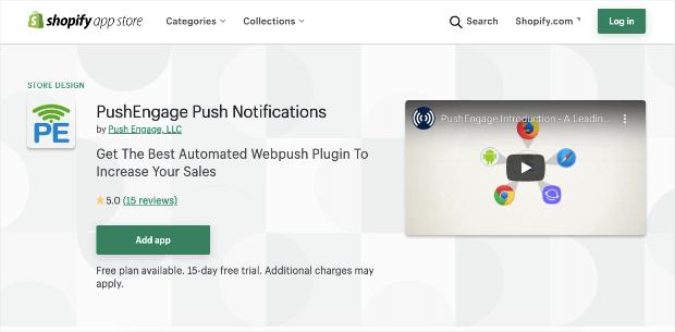pushengage push notifications shopify app